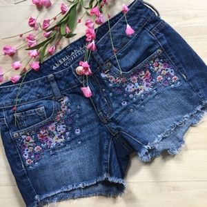American Eagle Embroidered Floral Jean Shorts